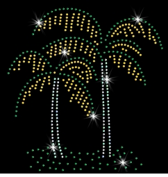 Pretty Palm Tree Pair Sparkly Rhinestuds Plus Size & Supersize T-Shirts S M L XL 2x 3x 4x 5x 6x 7x 8x 9x (All Colors)