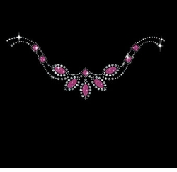 Pretty Pink Stones Neckline Sparkly Rhinestuds Rhinestones Plus Size & Supersize T-Shirts S M L XL 2x 3x 4x 5x 6x 7x 8x 9x (All Colors)