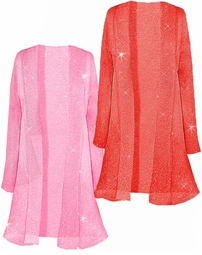 Pretty Pink or Red Sparking Sheer Plus Size & Supersize Jackets 0x 1x 2x 3x 4x 5x 6x 7x 8x