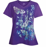 NEW! Purple Butterflies Glittery Plus Size T-Shirt 5x