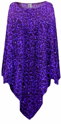 NEW! Purple Leopard Glittery Slinky Plus Size Supersize Poncho