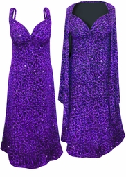 NEW! Purple Leopard Glittery Slinky Print 2 Piece Plus Size SuperSize Princess Seam Dress Set 0x 1x 2x 3x 4x 5x 6x 7x 8x 9x