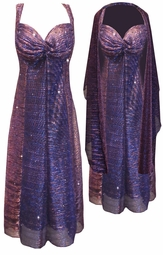 NEW! Purple Strokes Sparkle Glimmer With Liner Semi Sheer 2 Piece Plus Size SuperSize Princess Seam Dress Set 0x 1x 2x 3x 4x 5x 6x 7x 8x 9x