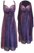 SALE! Purple Strokes Sparkle Glimmer With Liner Semi Sheer 2 Piece Plus Size SuperSize Princess Seam Dress Set XL