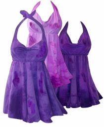 NEW! Purple or Hot Pink Fucshia Tie Dye Plus Size Halter SwimDress Swimwear 2pc Swimsuit 0x 1x 2x 3x 4x 5x 6x 7x 8x 9x