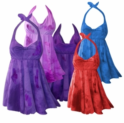 SALE! 2-Piece Purple Pink Blue Red or Green Tie Dye Plus Size & SuperSize Halter Swimsuit SwimDress  0x to 8x