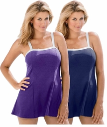SALE! Purple or Navy Plus Size One Piece White Banded Swimdress 5x/34