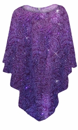 NEW! Purple Paisley Glitter Slinky Print Plus Size Supersize Poncho