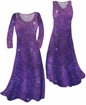 Customize Purple Paisley Glitter Slinky Print Plus Size & Supersize Standard or Cascading A-Line or Princess Cut Dresses & Shirts, Jackets, Pants, Palazzo's or Skirts Lg to 9x