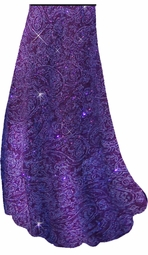 Purple Paisley Glitter Slinky Print Special Order Customizable Plus Size & Supersize Pants, Capri's, Palazzos or Skirts! Lg to 9x