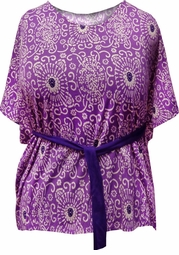 SALE! Purple Paisley Jersey Cotton Feel Flutter Plus Size Tunic Top with Belt 3x 4x