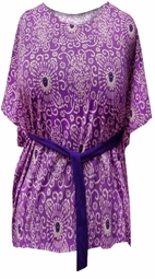 FINAL SALE! Just Reduced! Purple Paisley Jersey Cotton Feel Flutter Plus Size Tunic Top with Belt 22/24W
