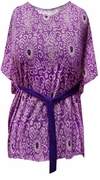 SOLD OUT! Just Reduced! Purple Paisley Jersey Cotton Feel Flutter Plus Size Tunic Top with Belt 22/24W
