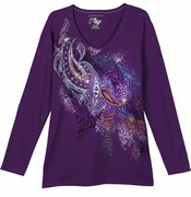 SOLD OUT! Just Reduced! Purple Paisley With Gold Sparkly Print Plus Size Long Sleeve Shirt 2x 5x