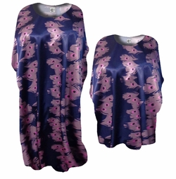 Purple & Pink Eyes Print Satin Plus Size & Supersize Caftan Dress or Shirt 1x to 6x