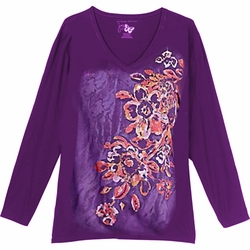 NEW! Purple Tribal Club Glittery Floral Print Plus Size Long Sleeve T-Shirt 4x