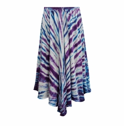 SALE! Purple & Turquoise Tie Dye Cotton Sharkbite Skirt In Plus Size Supersize 1x 2x 3x 4x 5x 6x 7x 8x