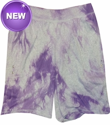 FINAL SALE! Purple Tie Dye on Gray Plus Size Shorts 5XL