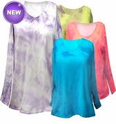 SALE!  Purple, Fuchsia, or Brown Tie Dye V Neck Long Sleeve Plus Size T-Shirts White Teal Raspberry Lime Hot Pink 3x 4x 5x