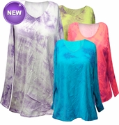 SALE!  Purple, Fuschia, or Brown Tie Dye V Neck Long Sleeve Plus Size T-Shirts White Teal Raspberry Lime Hot Pink 3x 4x 5x