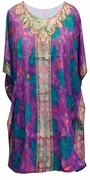 NEW! Purple with Fancy Trim Shirt Length Plus Size Tunic Caftan Top 1x to 6x