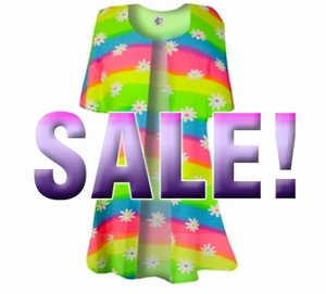 Customize Rainbow Daisy Swimsuit Coverup Plus Size Slinky Duster Jacket 1x 2x 3x 4x Supersize L XL 1x 2x 3x 4x 5x 6x 7x 8x 9x