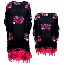 SALE! Red & Black Floral Stencil Rayon Print Plus Size & Supersize Caftan Dress or Shirt 1x to 6x