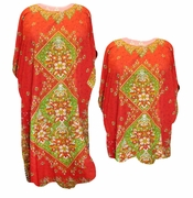 SALE! Red Diamond Print Plus Size & Supersize Caftan Dress or Shirt 1x to 6x