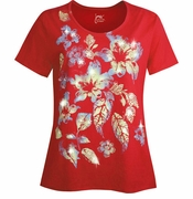 NEW! Red Blossoms Glittery Floral Plus Size T-Shirt 4x 5x