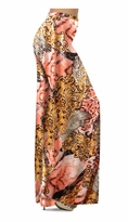 Gold & Salmon Fancy Print With Silver Shiny Metallic Print Slinky Special Order Customizable Plus Size & Supersize Pants, Capri's, Palazzos or Skirts! Lg to 9x