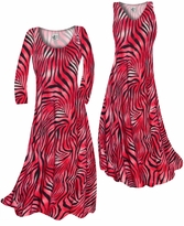 NEW! Scarlet Red Ombre Zebra Stripes Slinky Print Plus Size & Supersize Standard or Cascading A-Line or Princess Cut Dresses & Shirts, Jackets, Pants, Palazzo's or Skirts Lg to 9x