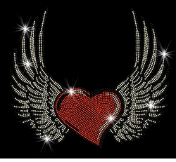 Red Heart With Wings Sparkly Rhinestuds Plus Size & Supersize T-Shirts S M L XL 2x 3x 4x 5x 6x 7x 8x 9x (All Colors)