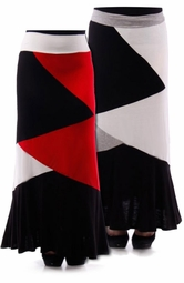 NEW! Red, Ivory, & Black, or Gray, Black, & Ivory Colorblock Plus Size Maxi Skirt 4x 5x 6x