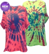 SALE! Red or Green Swirl Tie Dye Plus Size T-Shirts 3x 4x 5x 6x
