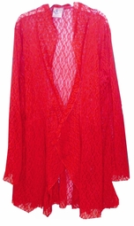 Customize Red Stretched Lace Cascading Plus Size Jacket / Swimsuit Cover Up 0x 1x 2x 3x Super Size 4x 5x 6x 7x 8x 9x