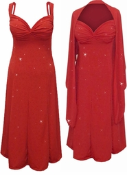 Customize 2P Red w/Red Hearts Glitter Slinky 2 Piece Plus Size SuperSize Princess Seam Dress Set 0x 1x 2x 3x 4x 5x 6x 7x 8x 9x