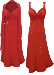 Customizable Red Slinky w/Red Glitter Hearts - Plus Size & SuperSize Princess Seam Dress Set 0x 1x 2x 3x 4x 5x 6x 7x 8x 9x