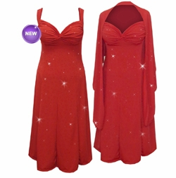 NEW! Red w/Red Hearts Glitter Slinky 2 Piece Plus Size SuperSize Princess Seam Dress Set 0x 1x 2x 3x 4x 5x 6x 7x 8x 9x