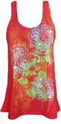 NEW! Red With Bright Green Petals Glittery Floral Plus Size Tank Top 1x 2x 3x 4x 5x