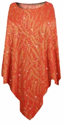 Red with Gold Zebra Glitter Slinky Print Plus Size Supersize Poncho