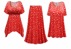 NEW! Red With White Polka Dots Glittery Slinky Print - Plus Size Slinky Dresses Shirts Jackets Pants Palazzo�s & Skirts - Sizes Lg to 9x