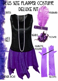 New! Roaring 20's Plus Size Flapper Costume Kit Plus Size & Supersize Lg XL 0x 1x 2x 3x 4x 5x 6x 7x 8x 9x