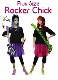 NEW! Rocker Chick Plus Size Supersize Halloween Costume + Add Accessories! Sizes Lg to 9x