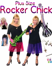 NEW! Rocker Chick Pop Star Plus Size Costume Supersize Halloween Costume + Add Accessories! Sizes Lg to 9x