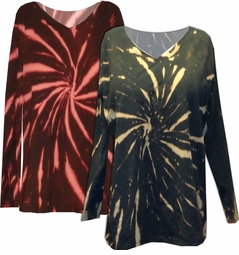 CLEARANCE! Black w/ Green Rust or Tan Tie Dye Long Sleeve Plus Size T-Shirt 4x 5x