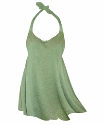 Customizable Sage Green Embossed Paisley Print Plus Size Halter SwimDress Swimwear or Shoulder Strap 2pc Swimsuit 0x1x 2x 3x 4x 5x 6x 7x 8x 9x
