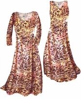 Customizable Salmon Red Ornate With Gold Metallic Slinky Print Plus Size & Supersize Standard or Cascading A-Line or Princess Cut Dresses & Shirts, Jackets, Pants, Palazzo's or Skirts Lg to 9x