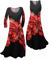 SALE! Scarlet Floral on Solid Black Print Slinky Plus Size & Supersize Standard or Cascading A-Line or Princess Cut Dresses 2x 4x