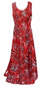 SALE! Scarlet Red Ombre Zebra Stripes Slinky Print Princess Cut Slinky Plus Size Tank Dress 4x 5x 6x 8x