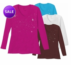 SALE! Starry Night Scatter Rhinestud on Plus Size V Neck Long Sleeve T-Shirt 5x White Teal Raspberry Brown